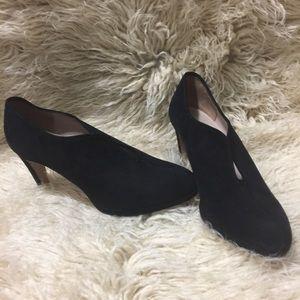 Black suede heeled booties. 9.5